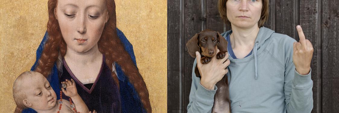 """""""Madonna med barnet"""", Dieric Bouts (1454) og """"Min hund er mere nuttet end din grimme baby"""", Elina Brotherus (2013)"""